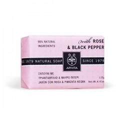 Apivita NATURAL SOAP Jabón natural con Rosa y Pimienta Negra - 125 g